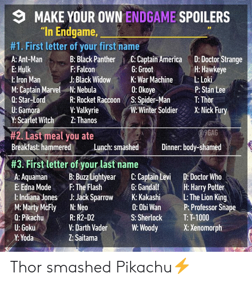 "Black Widow: MAKE YOUR OWN ENDGAME SPOILERS  ""In Endgame,  #1. First letter of your first name  A: Ant-Man :Black Panther C: Captain America D: Doctor Strange  E: Hulk  l:lron Man  M: Captain Marvel N: Nebula  Q: Star-LordR: Rocket Raccoon S. Spider-Ma T: Thor  U: Gamora  Y: Scartet Witch Z: Thanos  H: Hawkeye  P: Stan Lee  Winte SoldierX: Nick Fury  F: Falcon  J: Black Widow  G: Groot  War MachineLoki  0: Okoye  V: Valkyrie  9GAG  #2. Last meal you ate  Breakfast: hammere  Breakfast hammered Lunch: smashd Dinner body-shamed  Dinner: body-shamed  #3. First letter of your last name  A: AquamaB: Buzz Lightyear C: Captain Levi D: Doctor Who  E: Edna ModeF: The Flash G:Gandalf H: Harry Potter  l: Indiana Jones J: Jack Spro K: KakashiL: The Lion King  M:Marty McFly N: Neo  Q: Pikachu  U: Goku  Y: Yoda  0: Obi Wan  S: Sherlock  P: Professor Sna  T: T-1000  R: R2-D2  V: Darth VaderW: WoodyX: Xenomorph  Z: Saitama Thor smashed Pikachu⚡️"