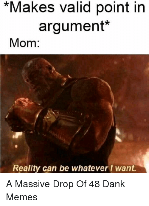 Valid Point: *Makes valid point in  argument*  Mom:  Reality can be whateverI want. A Massive Drop Of 48 Dank Memes