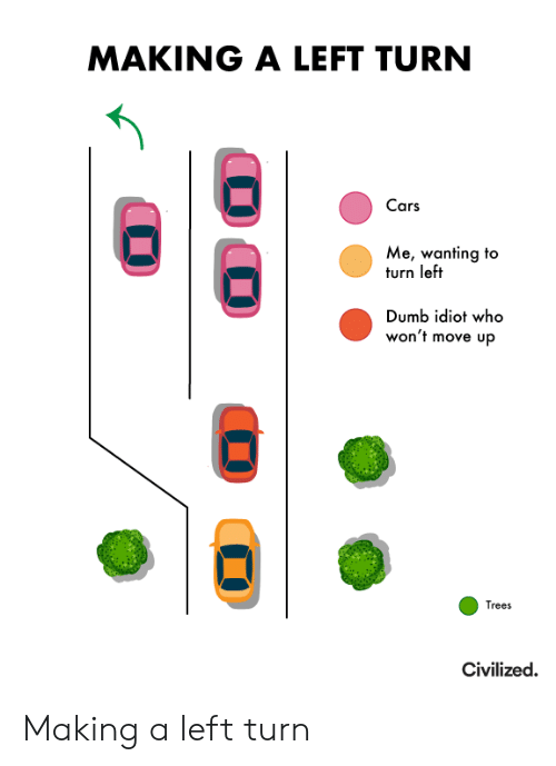 turn left: MAKING A LEFT TURN  Cars  Me, wanting to  turn left  Dumb idiot who  won't move up  Trees  Civilized. Making a left turn