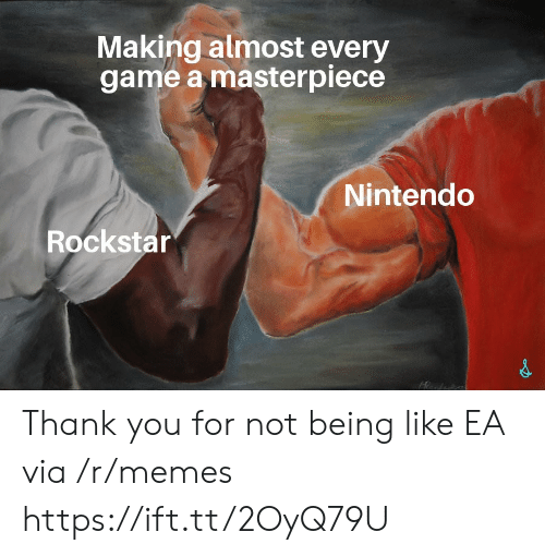 Memes, Nintendo, and Thank You: Making almost every  game a masterpiece  Nintendo  Rockstar Thank you for not being like EA via /r/memes https://ift.tt/2OyQ79U
