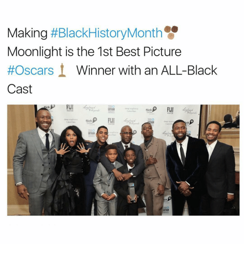Casted: Making  HBlackHistoryMonth  Moonlight is the 1st Best Picture  #Oscars  Winner with an ALL-Black  Cast  FIJI  ick  FIJI  deep euphona  flick  WATER  WATER  deep euphoria  flick  deep twpho  ck  WATER