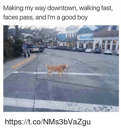 Memes, Good, and Boy: Making my way downtown, walking fast,  faces pass, and I'm a good boy  mon https://t.co/NMs3bVaZgu