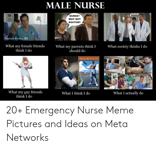 Doctor, Friends, and Meme: MALE NURSE  NURSE  NURSE?  WHY NOT  DOCTOR?  Gaylord Focker, RN  What my parents think I  should do  What society thinks I do  What my female friends  think I do  NURSES  TODAY S HEROES  What my guy friends  think I do  What I think I do  What I actually do 20+ Emergency Nurse Meme Pictures and Ideas on Meta Networks