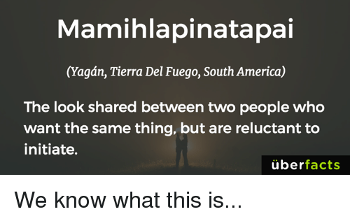 Initialism: Mamihlapinatapai  (agan, Tierra Del Fuego, South America)  The look shared between two people who  want the same thing, but are reluctant to  initiate.  uber  facts We know what this is...