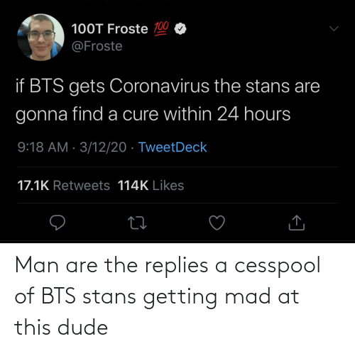 Stans: Man are the replies a cesspool of BTS stans getting mad at this dude