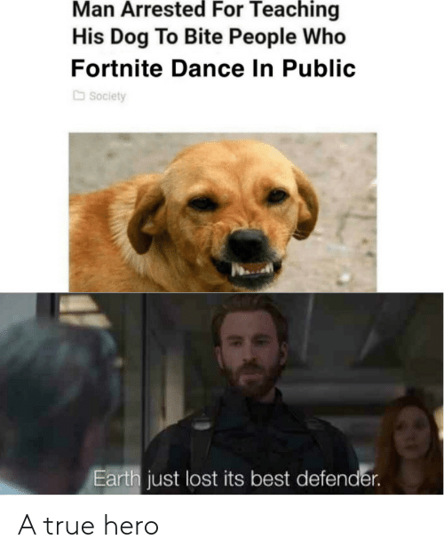 True Hero: Man Arrested For Teaching  His Dog To Bite People Who  Fortnite Dance In Public  Society  Earth just lost its best defender. A true hero