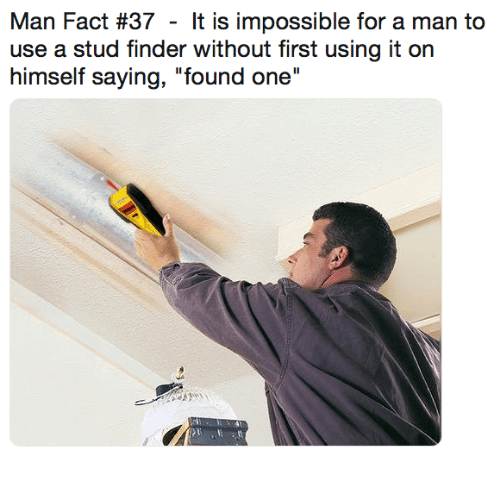 """stud: Man Fact #37 - It is impossible for a man to  use a stud finder without first using it on  himself saying, """"found one"""""""