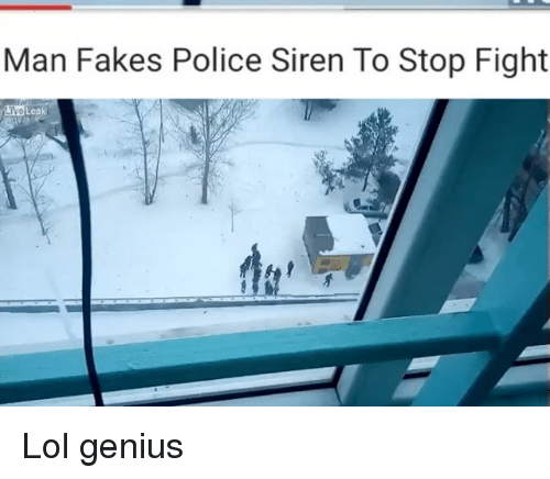 Memes, 🤖, and Sirens: Man Fakes Police Siren To Stop Fight Lol genius