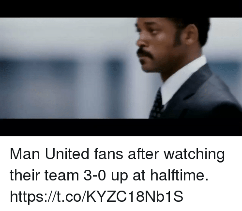Memes, United, and 🤖: Man United fans after watching their team 3-0 up at halftime.   https://t.co/KYZC18Nb1S