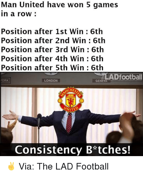 orks: Man United have won 5 games  In a row  Position after 1st Win 6th  Position after 2nd Win 6th  Position after 3rd Win 6th  Position after 4th Win 6th  Position after 5th Win 6th  ELADfootball  (ORK  LONDON  GENEVA  SACHES  NITED  Consistency B tches! ✌  Via: The LAD Football