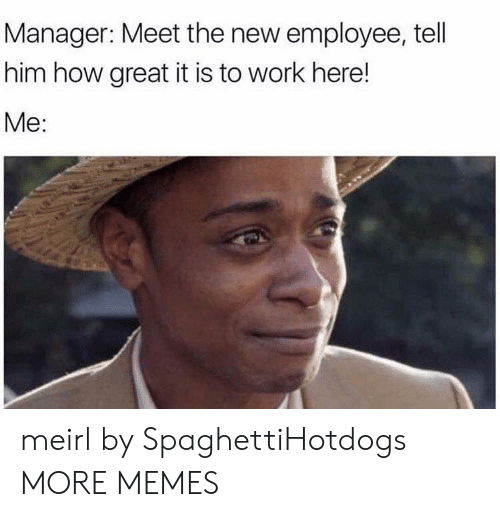 Work Here: Manager: Meet the new employee, tell  him how great it is to work here!  Me: meirl by SpaghettiHotdogs MORE MEMES