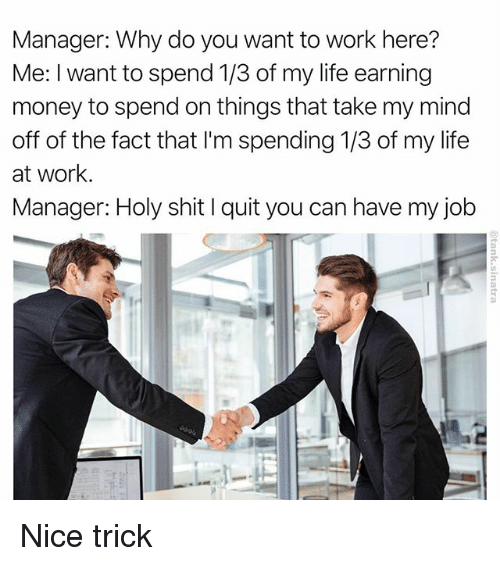Quit You: Manager: Why do you want to work here?  Me: I want to spend 1/3 of my life earning  money to spend on things that take my mind  off of the fact that lim spending 1/3 of my life  at work.  Manager: Holy shit l quit you can have my job Nice trick
