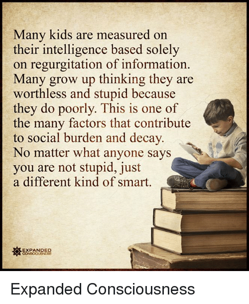 Growing Up, Memes, and Information: Many kids are measured on  their intelligence based solely  on regurgitation of information.  Many grow up thinking they are  worthless and stupid because  they do poorly. This is one of  the many factors that contribute  to social burden and decay  No matter what anyone says  you are not stupid, just  a different kind of smart  EXPANDED  CONSCIOUSNESS Expanded Consciousness