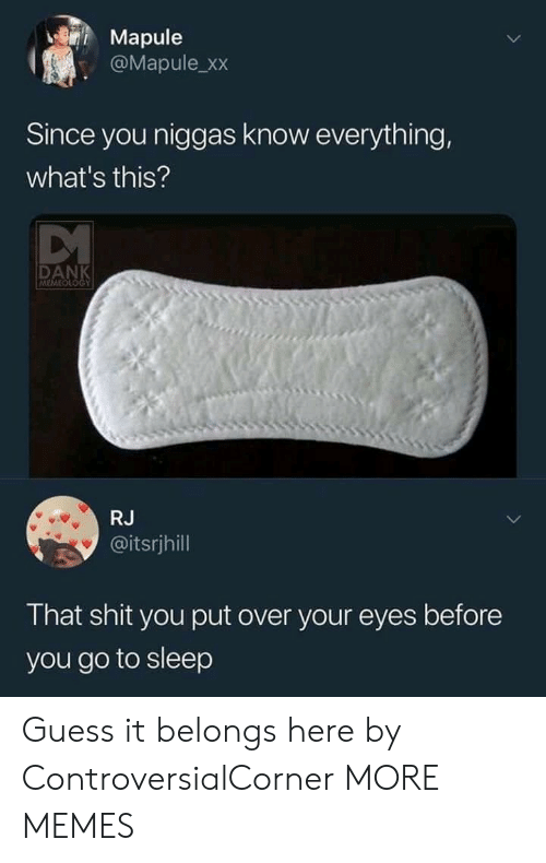 guess.it: Mapule  @Mapule_xx  Since you niggas know everything,  what's this?  DANK  MEMEOUOGY  RJ  @itsrjhill  That shit you put over your eyes before  you go to sleep Guess it belongs here by ControversialCorner MORE MEMES