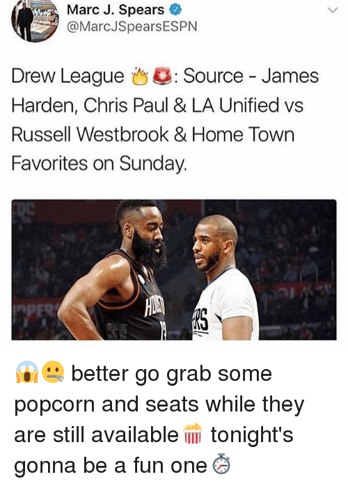 Drewing: Marc J. Spears  @MarcJSpearsESPN  Drew League 43: Source-James  Harden, Chris Paul & LA Unified vs  Russell Westbrook & Home Town  Favorites on Sunday. 😱🤐 better go grab some popcorn and seats while they are still available🍿 tonight's gonna be a fun one⏱