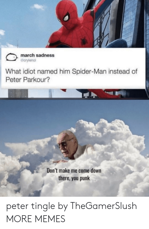 Idiot: march sadness  @crylenol  What idiot named him Spider-Man instead of  Peter Parkour?  Don't make me come down  there, you punk peter tingle by TheGamerSlush MORE MEMES
