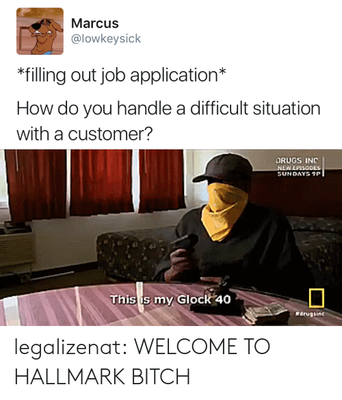 Job Application: Marcus  @lowkeysick  *filling out job application*  How do you handle a difficult situation  with a customer?   DRUGS INC  This is my Glock 40 legalizenat:  WELCOME TO HALLMARK BITCH