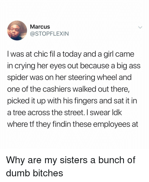 steering wheel: Marcus  @STOPFLEXIN  -IN  I was at chic fil a today and a girl came  in crying her eyes out because a big ass  spider was on her steering wheel and  one of the cashiers walked out there,  picked it up with his fingers and sat it in  a tree across the street. I swear ldk  where tf they findin these employees at Why are my sisters a bunch of dumb bitches
