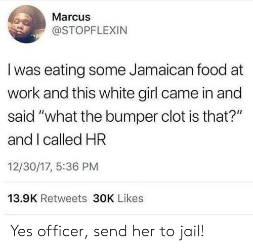 "Food, Jail, and White Girl: Marcus  @STOPFLEXIN  Iwas eating some Jamaican food at  work and this white girl came in and  said ""what the bumper clot is that?""  and I called HR  12/30/17, 5:36 PM  13.9K Retweets 30K Likes Yes officer, send her to jail!"