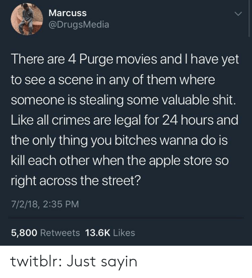 Apple Store: Marcuss  @DrugsMedia  There are 4 Purge movies and I have yet  to see a scene in any of them where  someone is stealing some valuable shit.  Like all crimes are legal for 24 hours and  the only thing you bitches wanna do is  kill each other when the apple store so  right across the street?  7/2/18, 2:35 PM  5,800 Retweets 13.6K Likes twitblr:  Just sayin