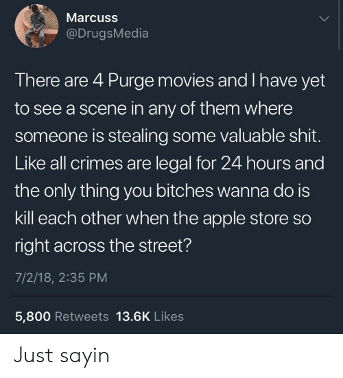 Apple Store: Marcuss  @DrugsMedia  There are 4 Purge movies and I have yet  to see a scene in any of them where  someone is stealing some valuable shit.  Like all crimes are legal for 24 hours and  the only thing you bitches wanna do is  kill each other when the apple store so  right across the street?  7/2/18, 2:35 PM  5,800 Retweets 13.6K Likes Just sayin