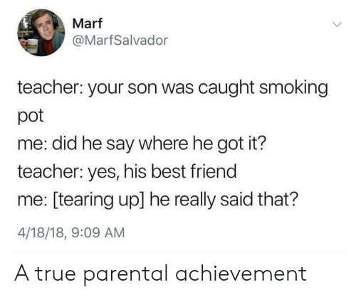 He Really: Marf  @MarfSalvador  teacher: your son was caught smoking  pot  me: did he say where he got it?  teacher: yes, his best friend  me: [tearing up] he really said that?  4/18/18, 9:09 AM A true parental achievement