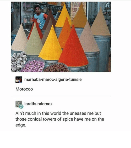 Thoses: marhaba-maroc-algerie-tunisie  Morocco  lordthundercox  Ain't much in this world the uneases me but  those conical towers of spice have me on the  edge. 훌륭하다