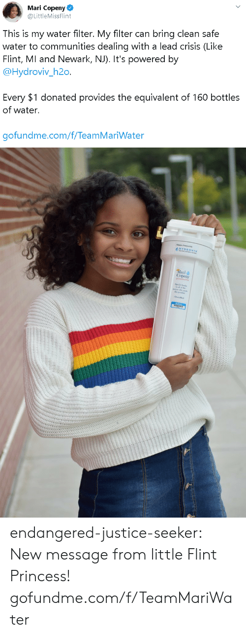 Bottles: Mari Copeny  @LittleMissFlint  This is my water filter. My filter can bring clean safe  water to communities dealing with a lead crisis (Like  Flint, MI and Newark, NJ). It's powered by  @Hydroviv_h2o.  Every $1 donated provides the equivalent of 160 bottles  of water.  gofundme.com/f/TeamMariWater   HYDROVIV  Mari  Copeny endangered-justice-seeker:    New message from little Flint Princess!   gofundme.com/f/TeamMariWater