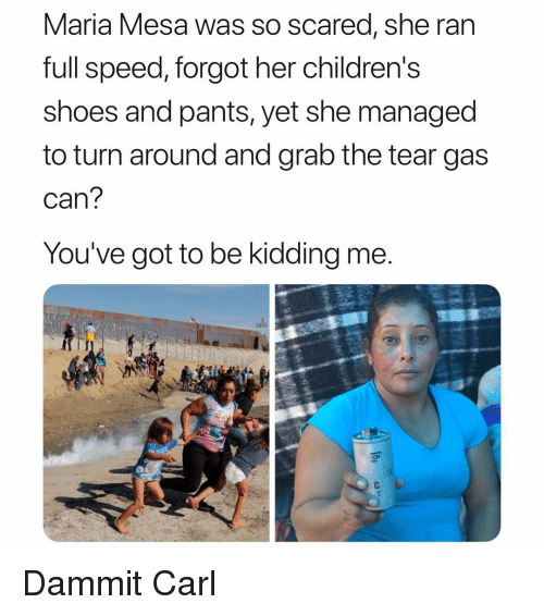 Memes, Shoes, and 🤖: Maria Mesa was So scared, she ran  full speed, forgot her childrens  shoes and pants, yet she managed  to turn around and grab the tear gas  can  You've got to be kidding me  CM Dammit Carl