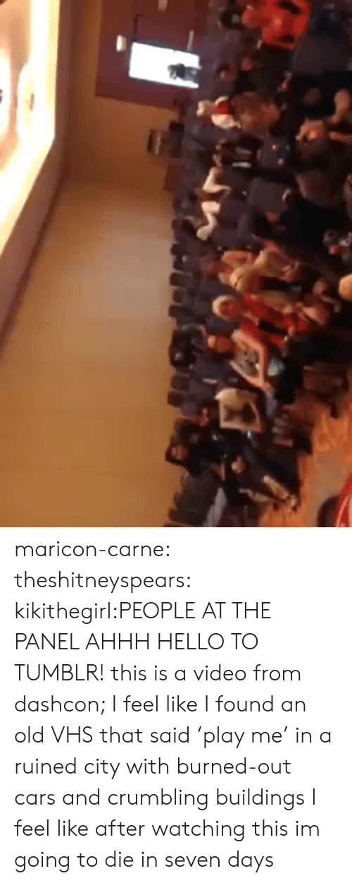 Cars, Hello, and Target: maricon-carne:  theshitneyspears:  kikithegirl:PEOPLE AT THE PANEL AHHH HELLO TO TUMBLR! this is a video from dashcon; I feel like I found an old VHS that said 'play me' in a ruined city with burned-out cars and crumbling buildings  I feel like after watching this im going to die in seven days