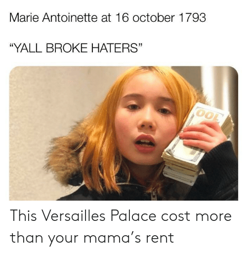"""versailles: Marie Antoinette at 16 october 1793  """"YALL BROKE HATERS"""" This Versailles Palace cost more than your mama's rent"""
