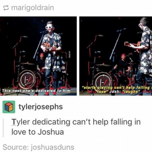 "sourcing: marigoldrain  can't help falling  This next one's  dedicated to him  lovo Josh: ""laughs.  tylerjosephs  Tyler dedicating can't help falling in  love to Joshua  Source: joshua sduns"