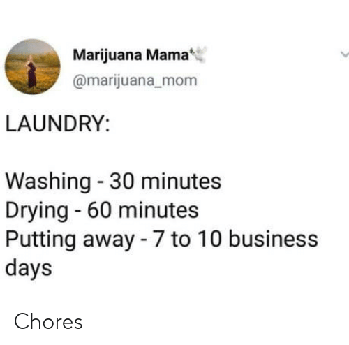 60 minutes: Marijuana Mama  @marijuana_mom  LAUNDRY  Washing - 30 minutes  Drying 60 minutes  Putting away - 7 to 10 business  days Chores