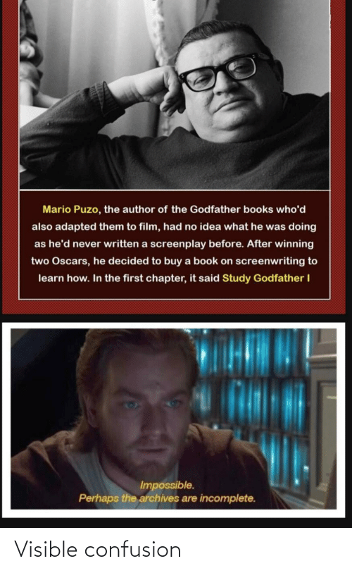 Learn: Mario Puzo, the author of the Godfather books who'd  also adapted them to film, had no idea what he was doing  as he'd never written a screenplay before. After winning  two Oscars, he decided to buy a book on screenwriting to  learn how. In the first chapter, it said Study Godfather I  Impossible.  Perhaps the archives are incomplete. Visible confusion