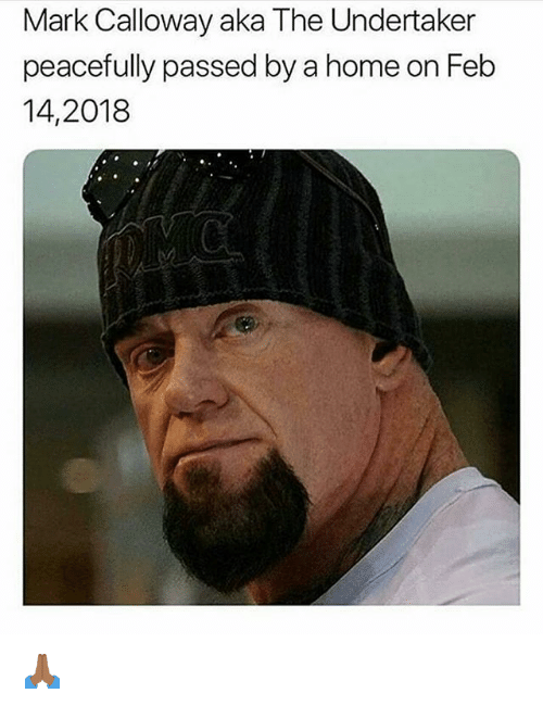 Memes, Home, and The Undertaker: Mark Calloway aka The Undertaker  peacefully passed by a home on Feb  14,2018 🙏🏾