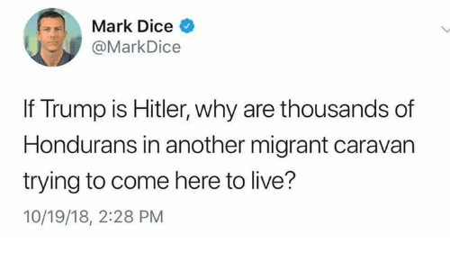 Memes, Dice, and Hitler: Mark Dice  @MarkDice  If Trump is Hitler, why are thousands of  Hondurans in another migrant caravan  trying to come here to live?  10/19/18, 2:28 PM