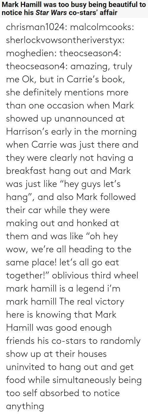 "she: Mark Hamill was too busy being beautiful to  notice his Star Wars co-stars' affair chrisman1024:  malcolmcooks:  sherlockvowsontheriverstyx:  moghedien:  theocseason4:  theocseason4: amazing, truly me  Ok, but in Carrie's book, she definitely mentions more than one occasion when Mark showed up unannounced at Harrison's early in the morning when Carrie was just there and they were clearly not having a breakfast hang out and Mark was just like ""hey guys let's hang"", and also Mark followed their car while they were making out and honked at them and was like ""oh hey wow, we're all heading to the same place! let's all go eat together!""   oblivious third wheel mark hamill is a legend   i'm mark hamill   The real victory here is knowing that Mark Hamill was good enough friends his co-stars to randomly show up at their houses uninvited to hang out and get food while simultaneously being too self absorbed to notice anything"