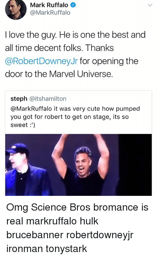 Stephe: Mark Ruffalo  @MarkRuffalo  I love the guy. He is one the best and  all time decent folks. Thanks  @RobertDowneyJr for opening the  door to the Marvel Universe.  steph @itshamilton  @MarkRuffalo it was very cute how pumped  you got for robert to get on stage, its so  sweet:') Omg Science Bros bromance is real markruffalo hulk brucebanner robertdowneyjr ironman tonystark