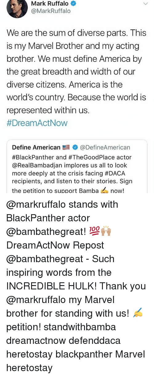 America, Memes, and Hulk: Mark Ruffalo  @MarkRuffalo  We are the sum of diverse parts. This  is my Marvel Brother and my acting  brother. We must define America by  the great breadth and width of our  diverse citizens. America is the  world's country. Because the world is  represented within us.  #DreamActNow  Define American髫幸@DefineAmerican  #BlackPanther and #TheGoodPlace actor  @RealBambadjan implores us all to loolk  more deeply at the crisis facing #DACA  recipients, and listen to their stories. Sign  the petition to support Bamba now! @markruffalo stands with BlackPanther actor @bambathegreat! 💯🙌🏽 DreamActNow Repost @bambathegreat - Such inspiring words from the INCREDIBLE HULK! Thank you @markruffalo my Marvel brother for standing with us! ✍️petition! standwithbamba dreamactnow defenddaca heretostay blackpanther Marvel heretostay