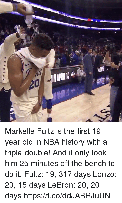 Memes, Nba, and History: Markelle Fultz is the first 19 year old in NBA history with a triple-double! And it only took him 25 minutes off the bench to do it.   Fultz: 19, 317 days Lonzo: 20, 15 days LeBron: 20, 20 days  https://t.co/ddJABRJuUN