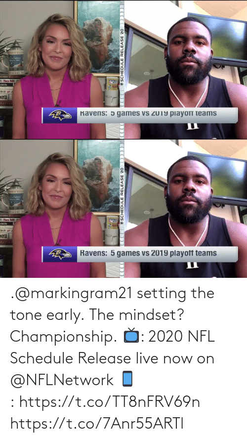 Schedule: .@markingram21 setting the tone early.  The mindset? Championship.  📺: 2020 NFL Schedule Release live now on @NFLNetwork 📱:https://t.co/TT8nFRV69n https://t.co/7Anr55ARTl