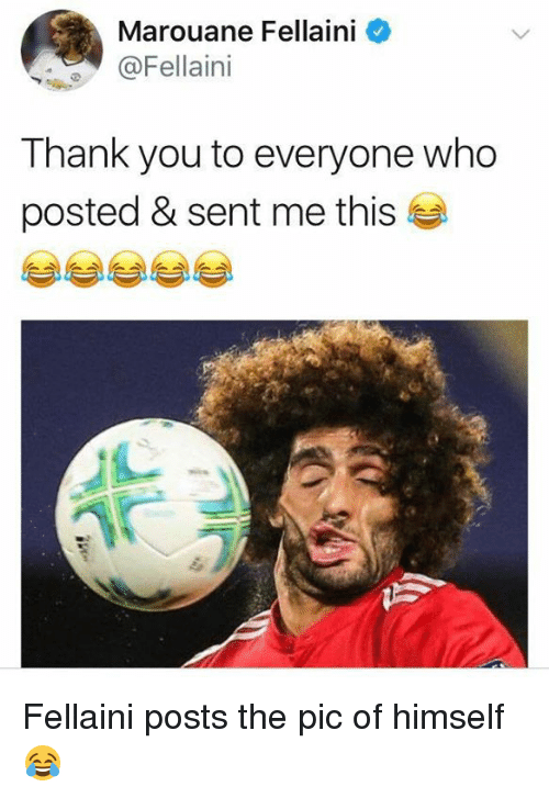 marouane fellaini: Marouane Fellaini  @Fellaini  Thank you to everyone who  posted & sent me this Fellaini posts the pic of himself 😂