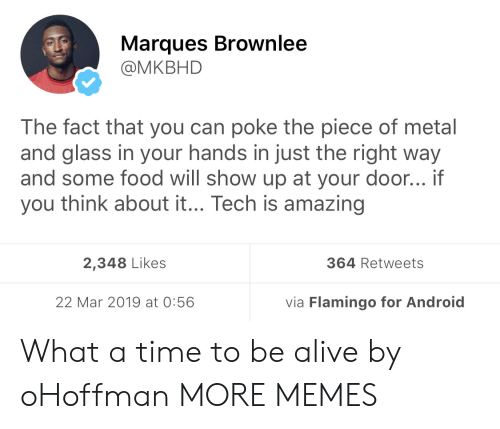 Alive, Android, and Dank: Marques Brownlee  @MKBHD  The fact that you can poke the piece of metal  and glass in your hands in just the right way  and some food will show up at your door... if  you think about it... Tech is amazing  2,348 Likes  364 Retweets  22 Mar 2019 at 0:56  via Flamingo for Android What a time to be alive by oHoffman MORE MEMES