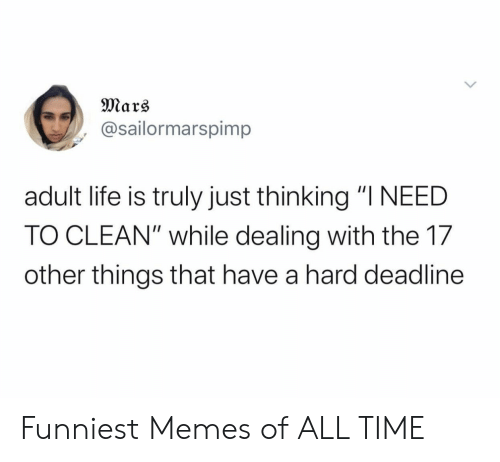 "Life, Memes, and Mars: Mars  @sailormarspimp  adult life is truly just thinking ""I NEED  TO CLEAN"" while dealing with the 17  other things that have a hard deadline Funniest Memes of ALL TIME"