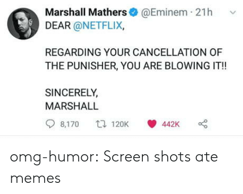 Eminem, Memes, and Netflix: Marshall Mathers@Eminem 21h v  DEAR @NETFLIX,  REGARDING YOUR CANCELLATION OF  THE PUNISHER, YOU ARE BLOWING IT!!  SINCERELY  MARSHALL  8,170 120K 442K o omg-humor:  Screen shots ate memes