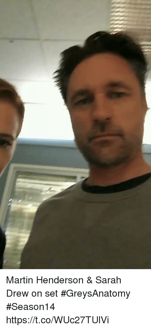 Drewing: Martin Henderson & Sarah Drew on set #GreysAnatomy #Season14 https://t.co/WUc27TUlVi
