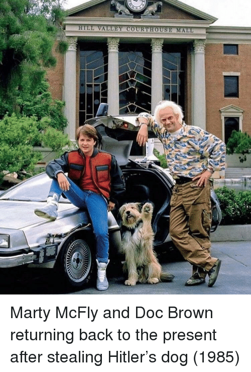 Marty McFly: Marty McFly and Doc Brown returning back to the present after stealing Hitler's dog (1985)