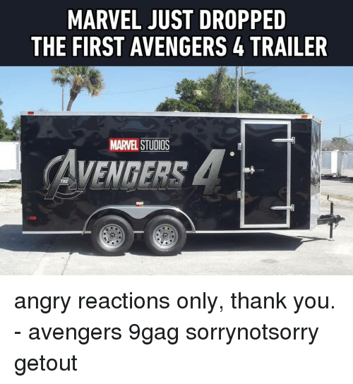 9gag, Memes, and Thank You: MARVEL JUST DROPPED  THE FIRST AVENGERS4 TRAILER  MARVEL STUDIOS  AVENDERS  THE angry reactions only, thank you. - avengers 9gag sorrynotsorry getout