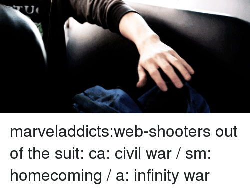 Shooters, Tumblr, and Blog: marveladdicts:web-shooters out of the suit: ca: civil war / sm: homecoming / a: infinity war