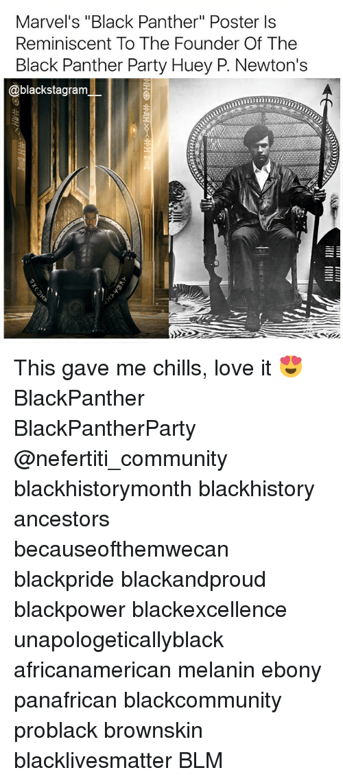 """blackhistory: Marvel's """"Black Panther"""" Poster ls  Reminiscent To The Founder Of The  Black Panther Party Huey P. Newton's  @blackstagram This gave me chills, love it 😍 BlackPanther BlackPantherParty @nefertiti_community blackhistorymonth blackhistory ancestors becauseofthemwecan blackpride blackandproud blackpower blackexcellence unapologeticallyblack africanamerican melanin ebony panafrican blackcommunity problack brownskin blacklivesmatter BLM"""